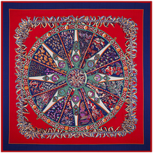 Twill Silk Euro Brand Women HOT Pepper Compass Rose Circle 130cm*130cm Silk Square Scarf Femal Fashion Shawls Hijab