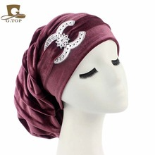 NEW Velvet long Turban Chemo Hat Beany Slouch baggy Cap Bandana Hair Loss Bonnet Tube