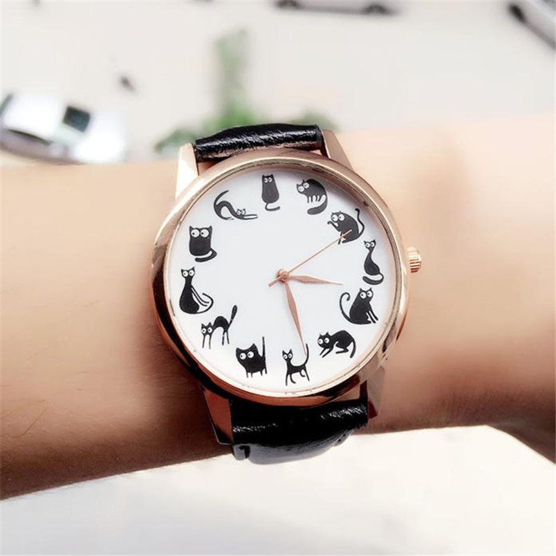 Brand new Fashion Watches Women Casual Cat Pattern wristwatch for Girl Quartz cartoon watch Saat hours relojes gift Ladies Watch(China)