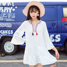 Summer Vintage Women dress Butterfly Sleeve Loose Embroidered Holiday Place Fairy Dresses White 7027
