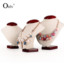 Oirlv free shipping creamy white MDF jewelry display mannequin necklace pendant chain holder for counter showcase necklace bust