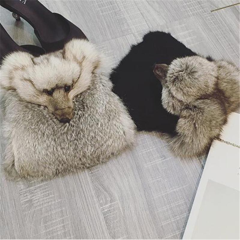 Winter New Women Bag Cute Fox Fake Fur Flap Bags Solid Color Cartoon Plush Shoulder Bags High Quality Rivet Messenger Bags<br><br>Aliexpress