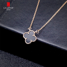 "Fashion Women Clover Necklace Pendant. Four Leaf Clover Rose Gold Pendant Necklace with 18"" Rose Gold Chain"