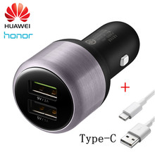 Original Huawei Honor Car Charger Dual USB 9V/2A 5V/2A Fast charge with 2A Type C Quick Charge Cable(China)