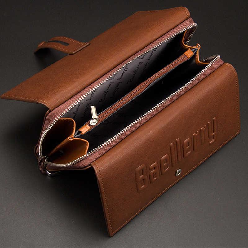 713ce05edb91 baellerry кашелек для Мужчин Кошельки Кожа Бумажник мужчины Кошелек мужской  клатч длинный сумка барсетка мужская большой