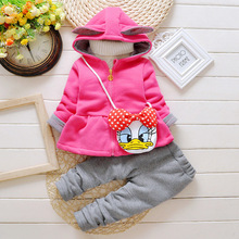 Free Shipping Sleeved Cotton Winter Hooded System Can be ordered in the Children's Clothing Plus Velvet Thickening Girls Suit