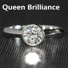 Luxury 1 Carat ct F Color Engagement Wedding Lab Grown Moissanite Diamond Ring Solid 14K 585 White Gold For Women(China)