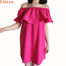 Ebizza Sexy Off Shoulder Ruffles Sleeveless Dress For Women 2017 Summer Elegant Solid Color Female Sundress Beach Party Vestidos
