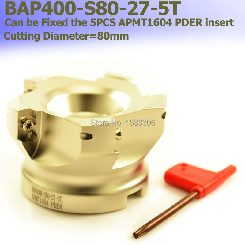 1pcs Face Mill BAP 400R -80-27-5T Shoulder Face Mill Head , 90 Degree Right Angle CNC Milling Cutter, For APMT1604<br>