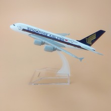 16cm Alloy Metal Air Singapore Airlines A380 Airplane Model Singapore Airbus 380 Airways Plane Model Stand Aircraft Kids Gifts(China)