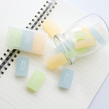 3 pcs/pack New Lovely Transparent Jelly Color 4B Drawing Eraser Primary Student Prizes Promotional Gift Stationery