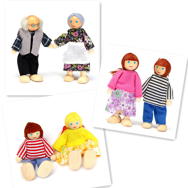 Happy Dollhouse Family Dolls Small Wooden Toy Set Figures Dressed Characters Children Kids Playing Doll Gift Kids Pretend Toys(China (Mainland))