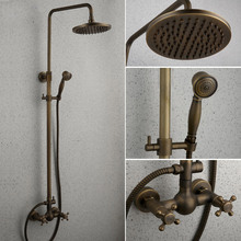 Pollock whole European antique copper hot and cold shower shower bath shower retro big Shower set(China)