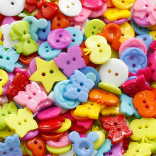 50pcs Mixed Cartoon Children Handmade Buttons DIY Candy Color  Buttons Decorative  For Sewing Scrapbooking Crafts