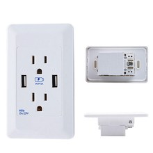 1 PC 120x70x40mm Dual USB Port Wall Socket Charger AC Power Receptacle Outlet Plate Panel Station VBU78 T0.11(China)