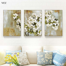VCC 3 Piece Canvas Art Apple Blossom Picture,Paintings On The Wall Art Canvas Painting,Wall Pictures For Livig Room,Home Decor(China)