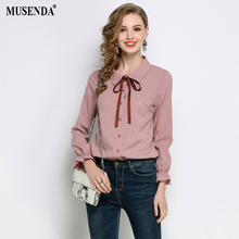 MUSENDA Plus Size Women Pink Turn Down Collar Bow Full Flare Sleeve Blouse 2018 Spring Female Office Lady Tops Shirt Clothing(China)