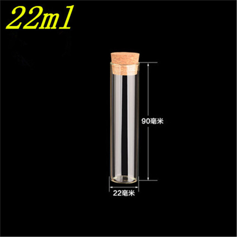 22*90mm 22ml Empty Glass Transparent Clear Bottles With Cork Stopper Glass Vials Jars Packaging Bottles Test Tube 100pcs/lot(China)