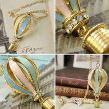 Fashion Colorful Hot Air Fire Balloon Pendant Long Necklace Charm Sweater Chain