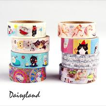 24 pcs/Lot Cute Cat color paper washi tape 15mm*5m masking decorative stickers for frame notebook scrapbooking Stationery 1686