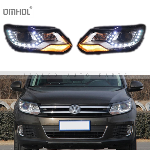 HID Bixenon High Low Beams Headlight Assembly With LED DRLs For VW Tiguan 2013-2016 Car 1_