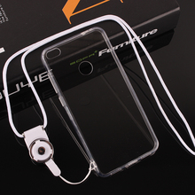 Simple Transparent With Dust plug White Lanyard TPU Side Hard Back Shell Cover Mobile Cell phone Case For Huawei P8 Lite 2017