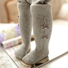 2017 New Arrival Newborn Baby Tights Boys Girls Pantyhose 0-36 Months Warm Soft Cotton Bow-knot Leg Warmers Baby Stockings(China)