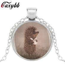 Caxybb 2017 Hedgehog In The Fog Silver Pendants Necklace Long Chian Statement Handmade Fashion Necklace For Women gifts