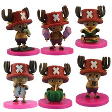 Hot 6pcs/lot 8cm pvc Japanese anime figure Tony Tony Chopper one piece action figure collectible model toys kids toys for boy(China)