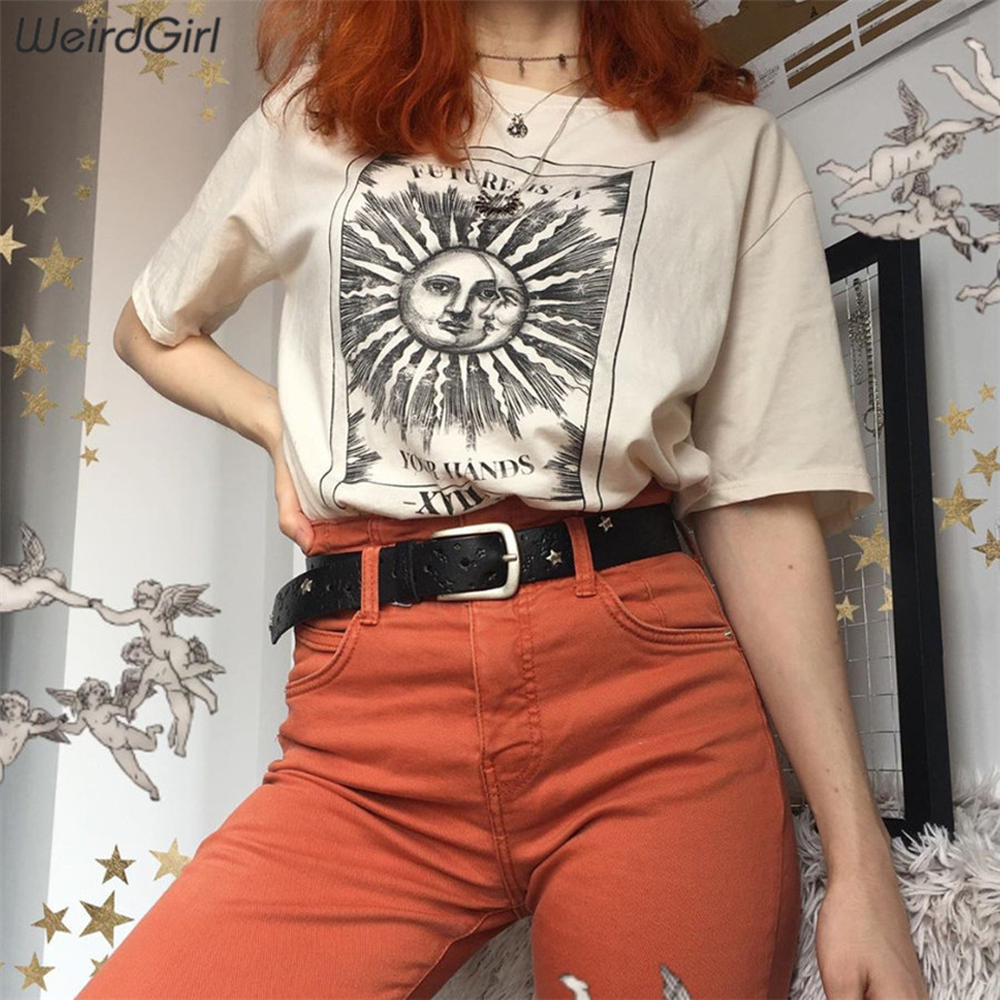 Weirdgirl women casual fashion t-shirt khaki letter sun moon print loose o-neck half sleeve elastic stretched summer home new 12