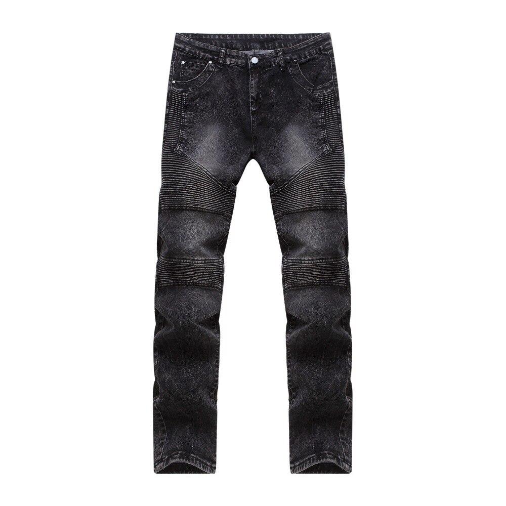 New Fashion Mens Slim Fit Black Jeans Moto Denim Joggers Pleated Jean Pants Cheap Straight Leg Jeans for MenÎäåæäà è àêñåññóàðû<br><br>