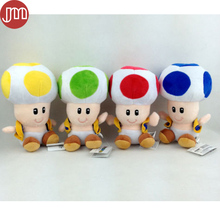 New Super Mario Bros Toad Plush Soft Toy Mushroom Man Animal Baby Dolls 18cm Red Yellow Blue Green Collection Free Tracking(China)