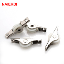 4PCS NAIERDI Sliding Door Roller Cabinet Nylon Caster 62x12mm Wheel Pulley For Wardrobe Window Furniture Hardware