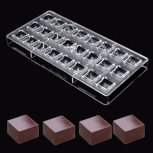 Clear 24 Square Shaped Polycarbonate PC Chocolate Moulds Sweet Candy DIY Mold