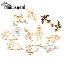 Buy 10pcs/lot Zinc Alloy Charms Hollow Gold Spacecraft Astronaut 3D Plane Rockets Charms Pendants DIY Jewelry Making Accessories for $2.74 in AliExpress store