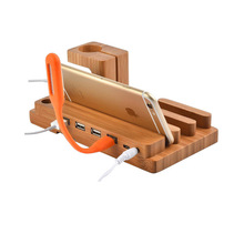 Multi-function 4 Port USB For Apple Watch 38mm 42mm Genuine Bamboo Charging Docking Station Charger Stand Holder For All Phones