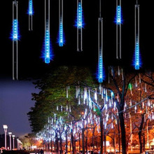 EU/US plug 8 tubes Rain Drop/Icicle Snow Fall String LED Christmas tree decoration Cascading Meteor Light Decoration,RGB,W,blue(China)