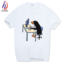 Hecoolba 2017 Men Print The LINUX Penguin In A Computer Fashion T-shirt O-Neck Short sleeves Summer Casual Funny T Shirt HCP800(China)