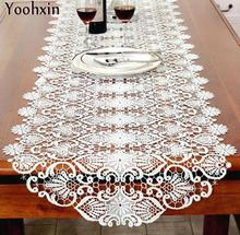 Modern cotton Table Runner White embroidered lace table flag cloth cover mantel Christmas tablecloth home party Wedding decor