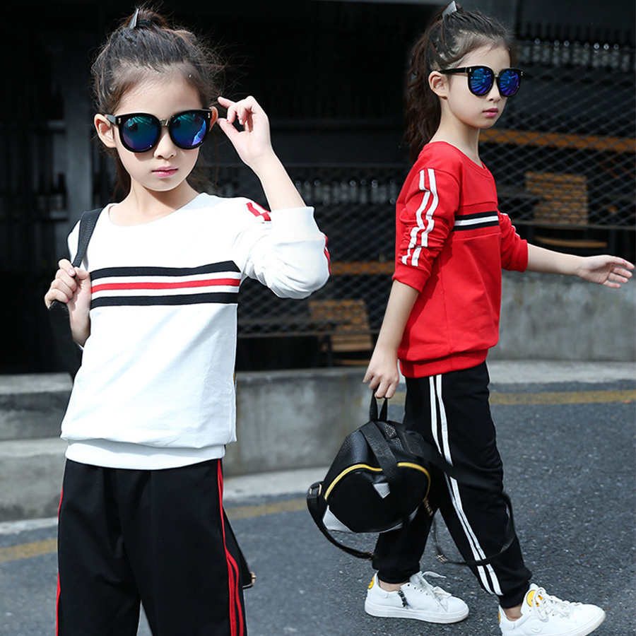 tracksuits girls clothing sets new 2017 spring autumn red white tops black pants outfits girls school clothes sports suits<br><br>Aliexpress