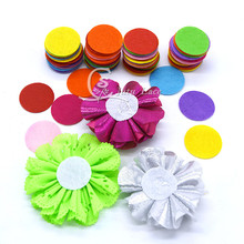 Cheap hair accessories chiffon flower bottom pads random mix many colors in 2cm nov-woven fabri circle felt 2000pcs/ color /lot