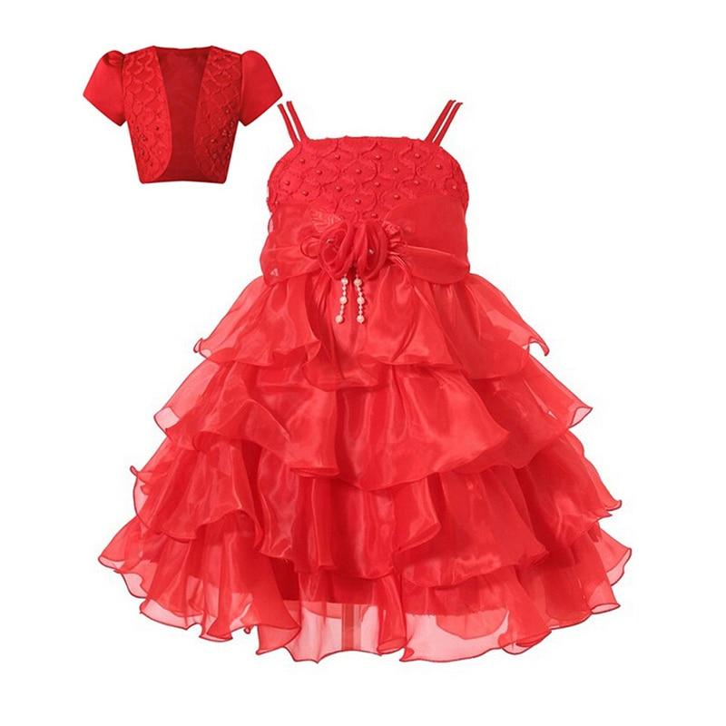 Baby Girl Dress Layered Lace Flower Tutu Christmas Princess Wedding Party Dress First Communion European Children Clothing robe<br><br>Aliexpress