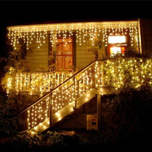 96 led christmas outdoor Light Length 4m Droop 0.3-0.6m curtain icicle led lights New year Garden Xmas Wedding Party Led light