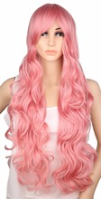 QQXCAIW Long Curly Cosplay Wig For Women Party Pink 70 Cm High Temperature Synthetic Hair Wigs(China)