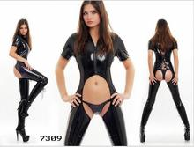 Buy Sexy Women Faux Leather Bodycon Fetish Jumpsuit Black PVC Bodysuit Open Crotch Lace-Up Porn Sexy Lingerie Erotic Latex Catsuit