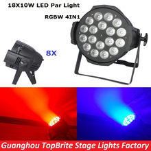 Factory Price 8XLot LED Par Stage Light 18X10W RGBW 4IN1 LED Par Can High Quality Par Light DMX512 Dj Disco Party Event Lighting