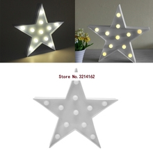 3D Marquee Stars Lamp With 11 LED Battery Operated White Night Light New 07NOV(China)