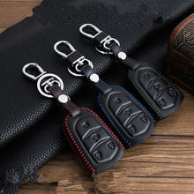 Leather Car Key Cover case Keychain skin set for Cadillac CTS ATS 28T CTS-V coupe SRX Escalade srx atsl xts 4 Buttons Key Remote