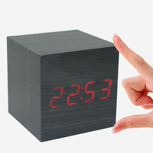 Square Wooden Wood Clocks Desk Home Fashion Modern Alarm Clock Voice Control Horloge(China)