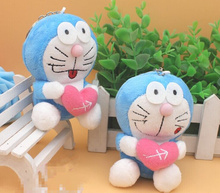HOT Wedding TOY , Love Heart 10CM Approx. Doraemon Plush Stuffed TOY , Key ring Pendant TOY , Valentine's DAY Gift(China)